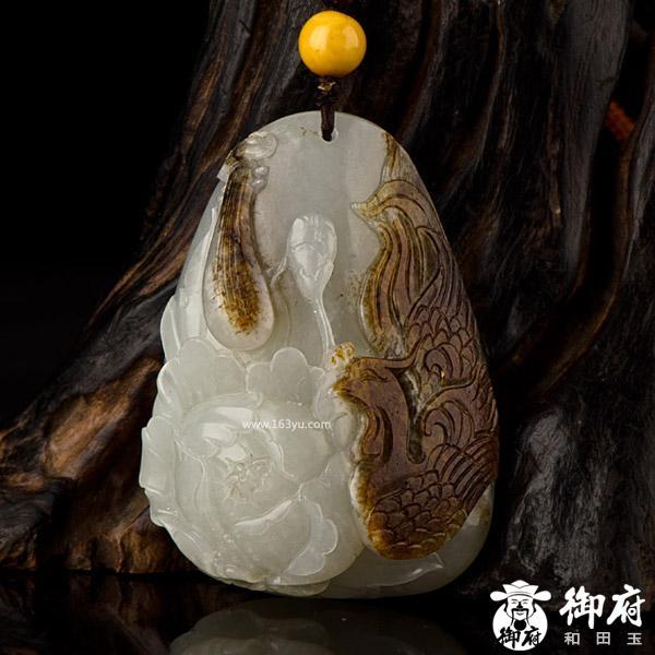 玉籽玉把件 凤戏牡丹